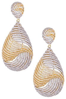 Gold plated diamond earrings by Auraa Trends