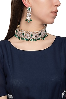 Gold plated diamond and green stone necklace set