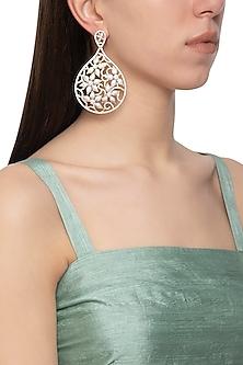 Gold plated diamond drop dangler earrings