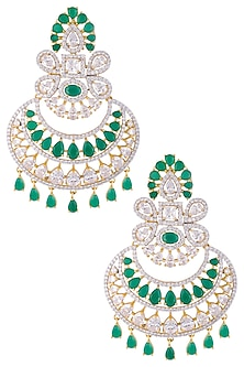 Gold plated diamond and green stone dangler earrings by Auraa Trends
