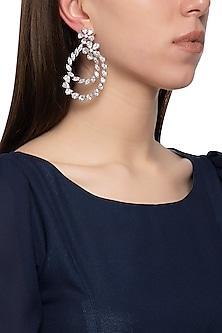 Gold plated diamond floral dangler earrings