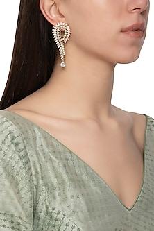 Gold plated diamond long earrings