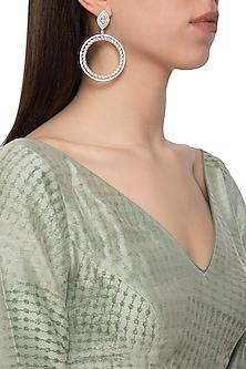 Gold plated diamond circular dangler earrings