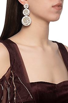 Gold plated diamond circular tiered earrings