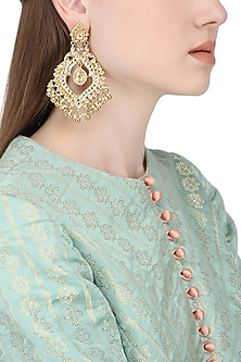 Gold Plated Kundan Stone and Pearl Earrings by Auraa Trends