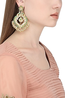 Gold Plated White and Green Kundan Stones and Pearl Earrings by Auraa Trends