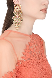 Gold Plated White and Pink Kundan Stones and Pearl Dangler Earrings by Auraa Trends