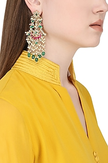 Gold Plated White, Pink and Green Kundan Stones and Pearl Earrings by Auraa Trends