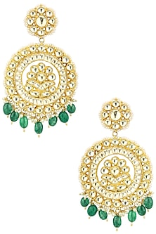 Gold Plated Kundan and Green Stone Drop Earrings by Auraa Trends