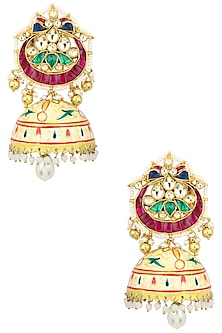 Gold Finish Kundan Studded Chandbali Earrings by Auraa Trends