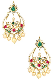Gold Finish Kundan and Multicolor Stones Chandbali Earrings by Auraa Trends