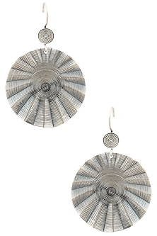 Antique Silver Finish Fish Hook Round Earrings by Auraa Trends