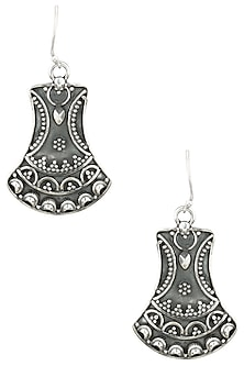 Antique Silver Finish Fish Hook Bell Earrings by Auraa Trends