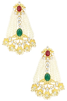 Gold Finish Kundan and Pearl Studded Chandlier Earrings by Auraa Trends