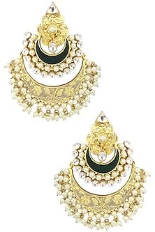 Gold Plated Kundan and Green Enamel Chandbali Earrings by Auraa Trends