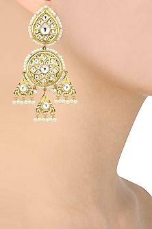 Gold Finish Kundan Studded Earrings by Auraa Trends