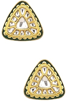 Gold Finish Kundan and Green Enamel Studs by Auraa Trends