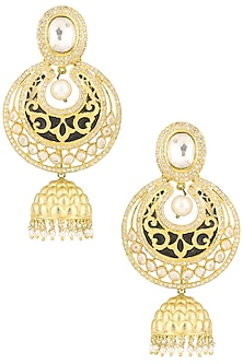 Gold Plated Kundan Pearls and Beads Earrings by Auraa Trends