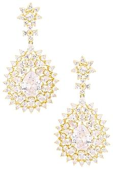 Rhodium Plated Flower Shaped American Diamond Earrings by Auraa Trends