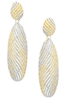 Rhodium Plated Swirl American Diamond Earrings by Auraa Trends
