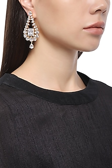 Rhodium Plated American Diamond Earrings by Auraa Trends