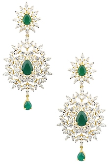 Rhodium Plated Green Semi Precious and American Diamond Earrings by Auraa Trends