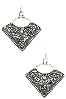 Antique Silver Finish Fish Hook Wings Earrings by Auraa Trends
