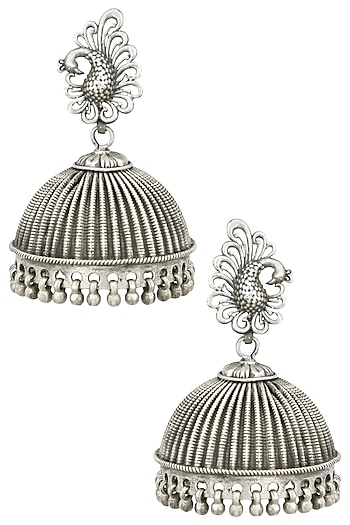 Auraa Trends Silver Finish Peacock Earrings