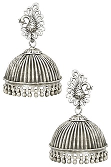 Antique Silver Finish Peacock Textured Earrings by Auraa Trends