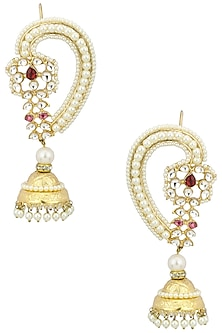 Gold Plated Kundan, Pearls and Red Stone Jhumki Earrings by Auraa Trends