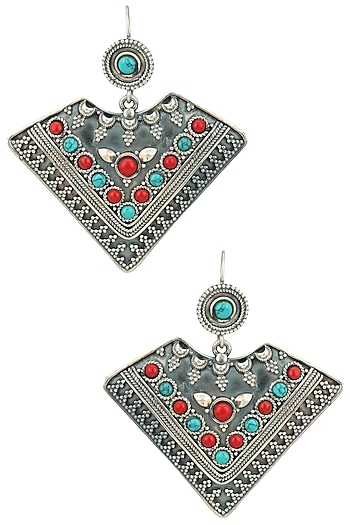 Auraa Trends Silver Finish Turquoise Earrings