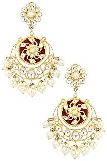 Gold Plated Kundan and Pearl Drop Chandbali Earrings by Auraa Trends