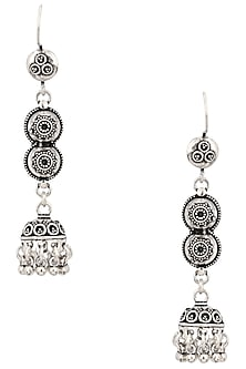 Antique Silver Finish Fish Hook Textured Earrings by Auraa Trends