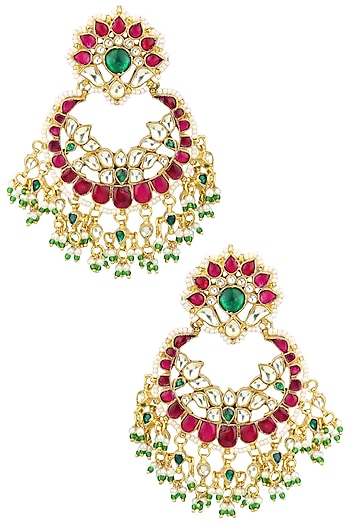 Auraa Trends Plated Kundan Red Earrings