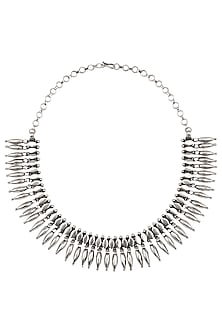 Antique Silver Finish Tribal Necklace by Auraa Trends