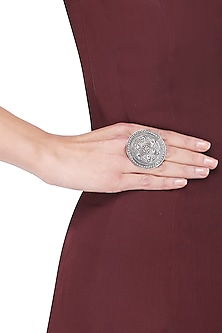 Antique Silver Finish Round Tribal Ring by Auraa Trends
