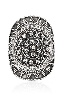 Antique Silver Finish Oval Tribal Ring by Auraa Trends