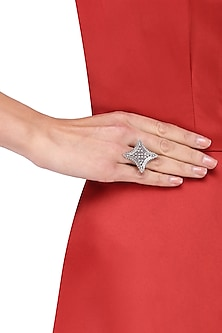 Antique Silver Finish Star Ring
