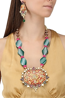 Gold Plated Kundan and Enameled Necklace Set by Auraa Trends