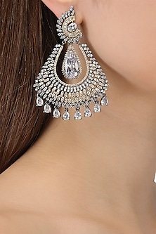 Rhodium Finish Oxidized American Diamond Earrings by Auraa Trends