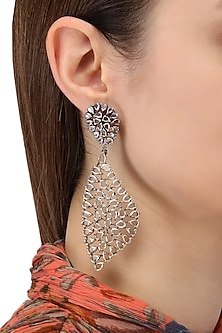 Rhodium Plated Abstract Earrings