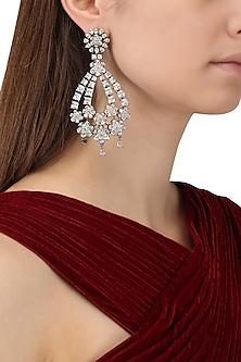 Rhodium Plated American Diamonds Flower Earrings by Auraa Trends