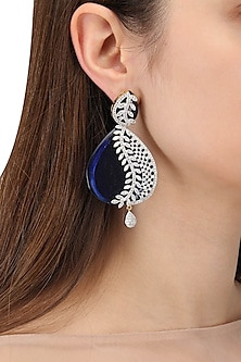 Gold Plated Blue Semi Precious Stone Earrings by Auraa Trends