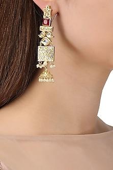 Gold Plated Kundan and Semi Precious Stone Textured Earrings
