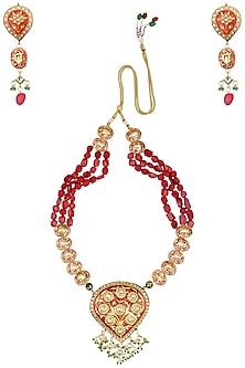 Gold Finish Kundan and Semi Precious Stones Necklace Set by Auraa Trends