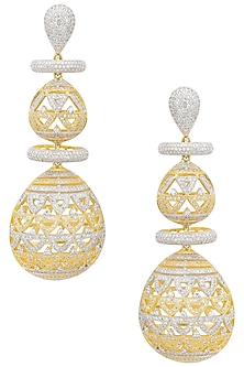 Gold and Silver Finish Diamond Studded Drop Earrings by Auraa Trends