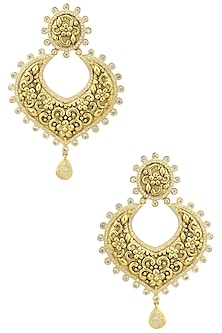 Gold Finish Textured Chandbali Earrings by Auraa Trends