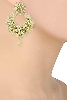 Gold Finish Textured Chandbali Earrings