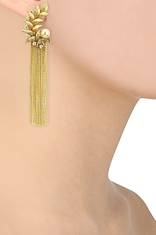Antique Gold Finish Textured Tassle Earring by Auraa Trends