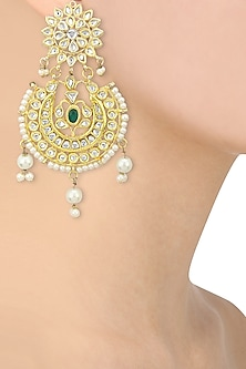 Gold Finish Kundan and Pearls Studded Chandbali Earrings by Auraa Trends